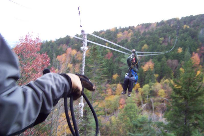 Patti flies in on one of the super-long ziplines.