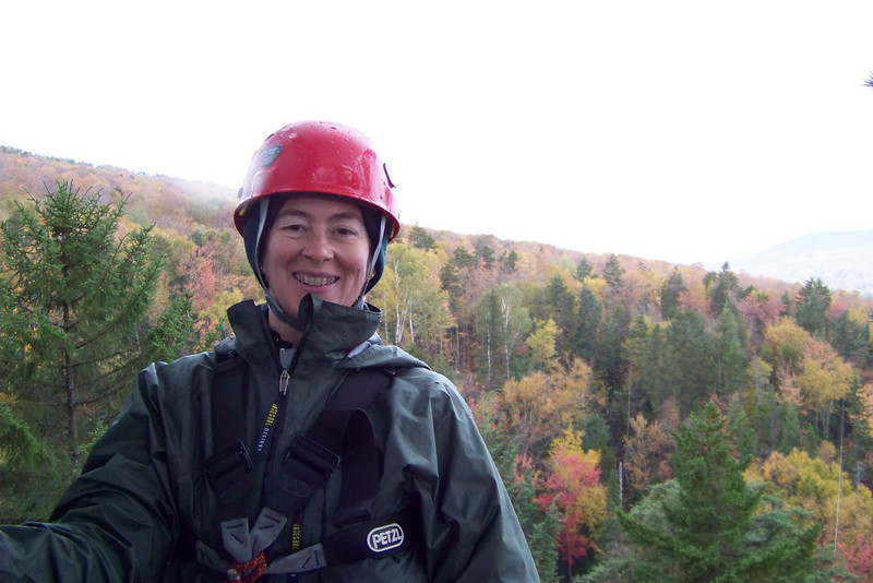 Patti gets ready for her first rappel.