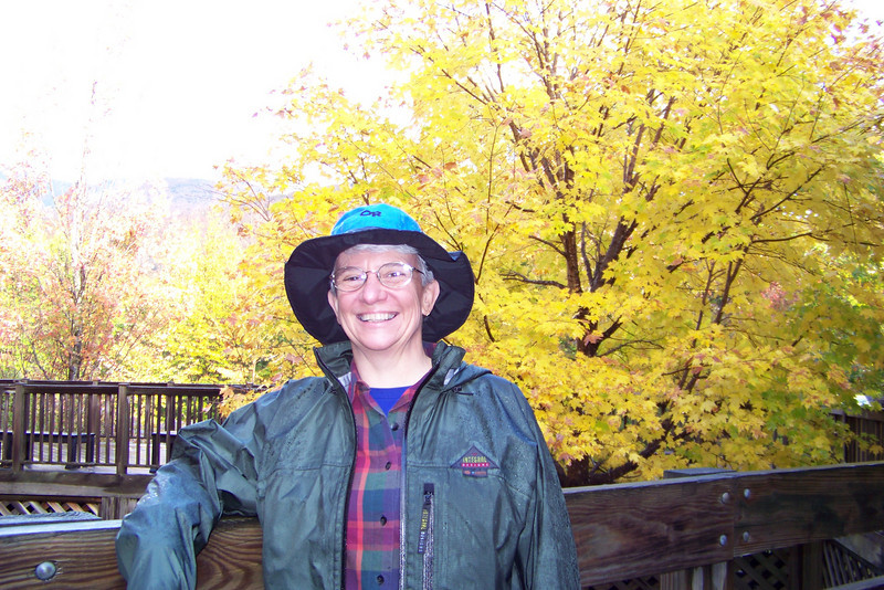Jeane, enjoying the maples at the end of our hike.