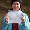 We drive to our trailhead, and then take time to enjoy having a marriage license.