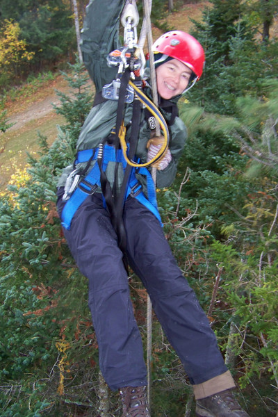 Hanging from the rappelling tree!
