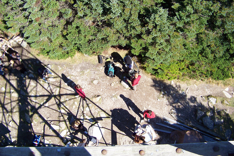 It's the first nice day after many days of rain, so there are lots of hikers on the trail today, all below us waiting for a turn to climb the tower.