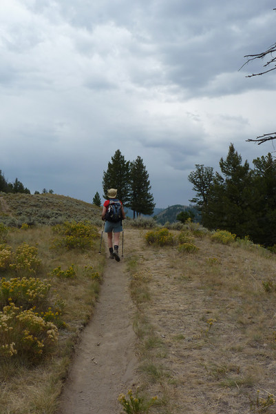 The clouds build in preparation for our afternoon thunderstorm  as Patti meanders through the sagebrush and rabbitbrush.