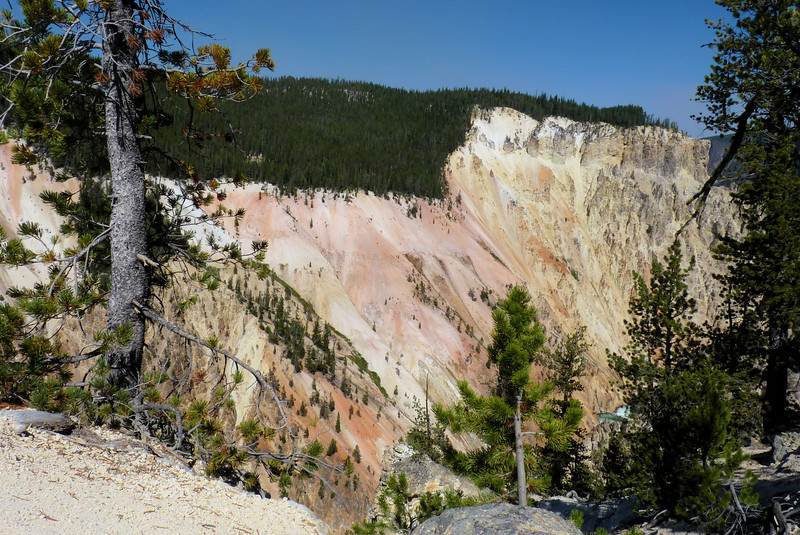 Mineral deposits are responsible for the riot of color on the sides of the canyon.