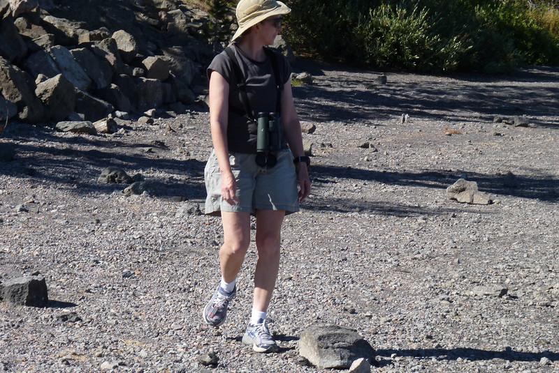 Patti ambles along the lakeshore