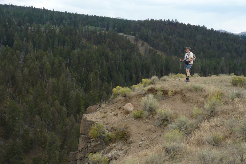 Jeane, high on the canyon wall above the Yellowstone River