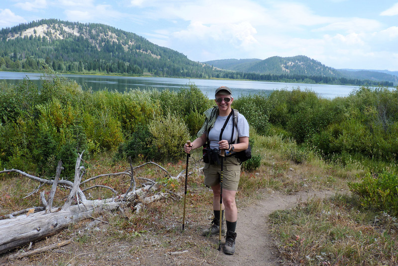 The first of many gear-head photos...hiking sticks, camera, binoculars, bear spray...
