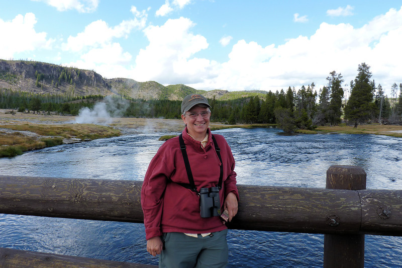We arrive at Biscuit Basin where Jeane poses with the Firehole River in the background.  From here we watch a thieving Bald Eagle chase down an Osprey, steal its food, and exit, pursued by an Osprey.