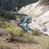 The trail follows the Yellowstone River upstream.