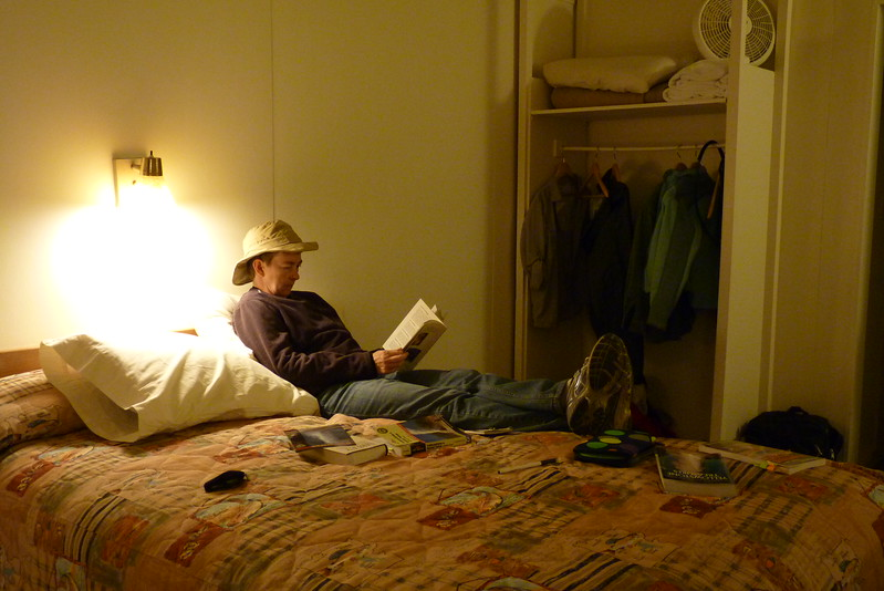 Patti relaxes with her field guides after a long day.