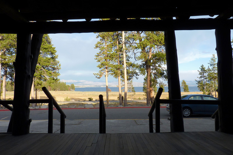 Nice view from the lodge porch, looking at Yellowstone Lake