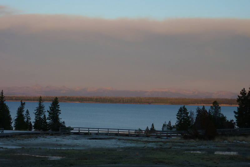 The mountains across the lake are almost obscured by the smoke