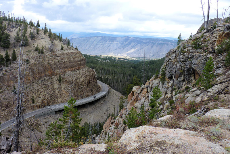 """As we descend Bunsen Peak, we get a nice view of what Jeane calls the """"Golden Gate"""".  This road that heads into Mammoth Hot Springs is one of our favorite drives in Yellowstone."""