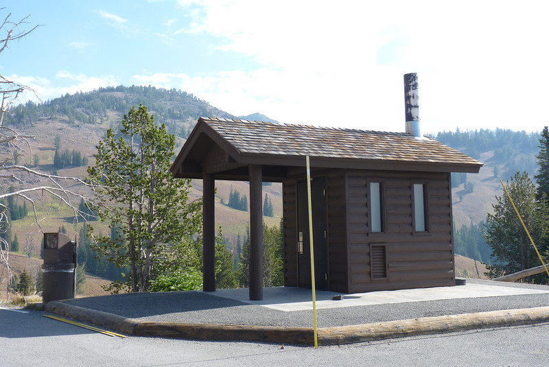 Day 6: August 31st - we stop near Mt. Washburn to add to our Outhouses of the World collection and then proceed north toward our trailhead.