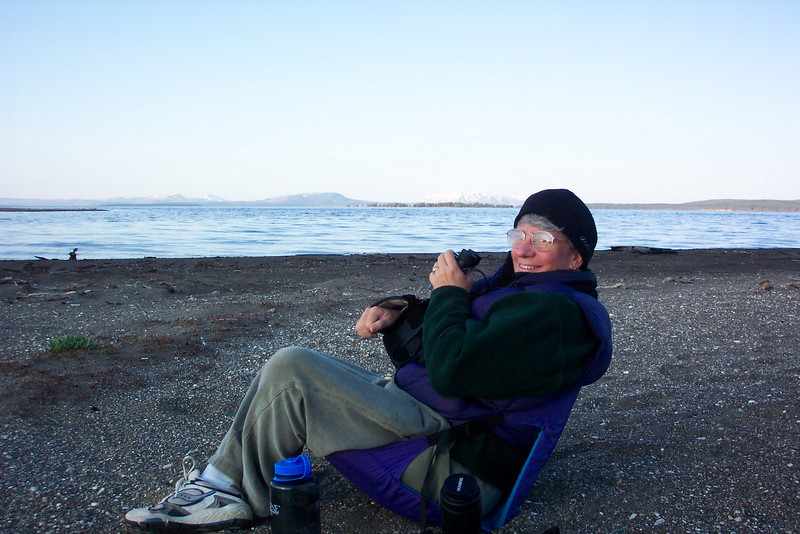 We parked our chairs on the shore of Yellowstone Lake.