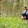 Jeane in a field of Glacier Lilies