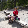 At the end of the Elephant Back trail is a viewpoint overlooking Yellowstone Lake.  We take advantage of the nice wooden benches placed there.