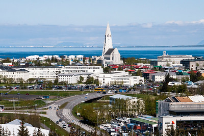 Lief Erickson Church - Looking out from the Pearl - Reykjavik, Iceland