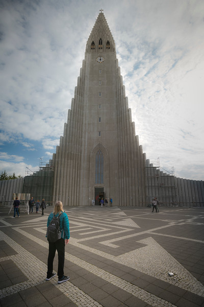 Mom gazing at Hallgrimskirkja