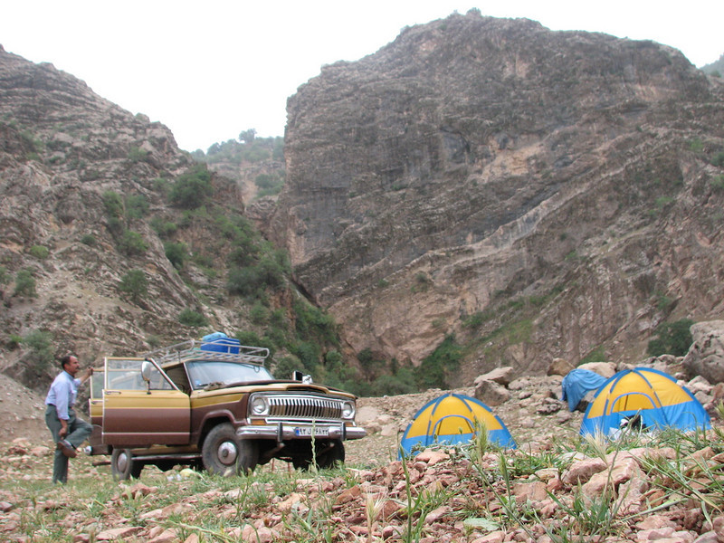 campground near waterfall (29-30 April, 40 km NW of Khorramabad)