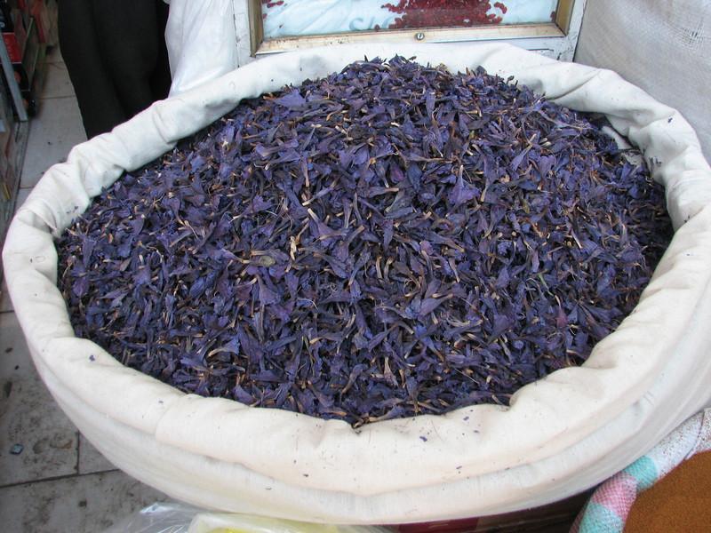 "Dried petals of a Echium spec. (or Borago officinalis) used for making tea (blood pressure sinking) ""Gawzäban"" in persian (Tehran Bazaar)"