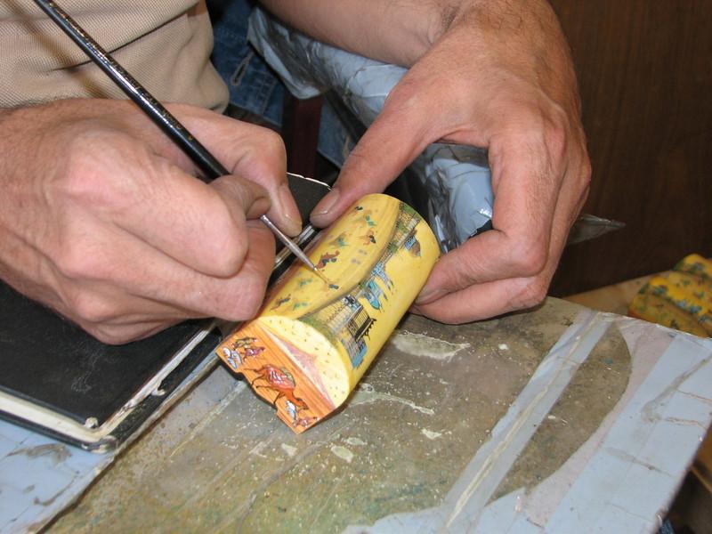 painting a camel bone box (handycraftsmen Esfahan)