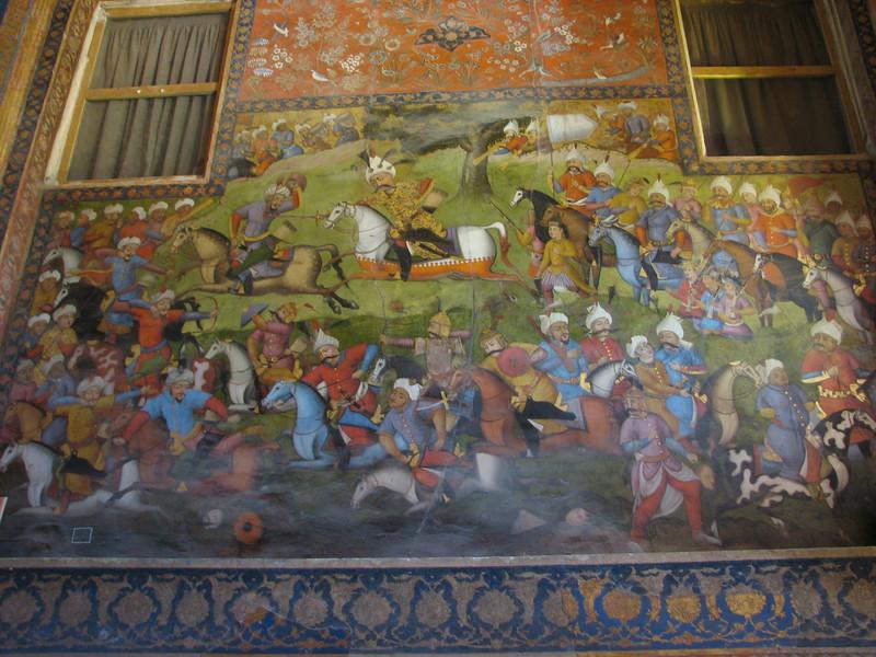 historical fresco of the battle of the Safavid era (Chehel Sotun Palace, Esfahan)