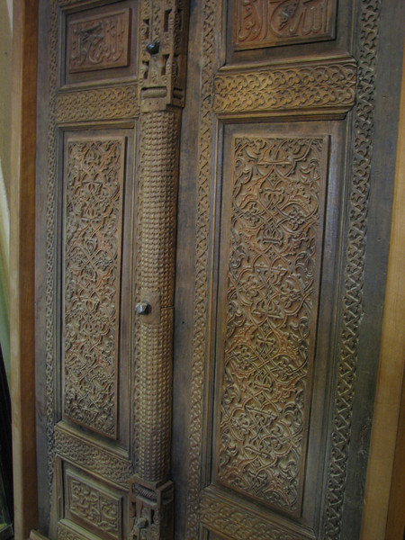 ancient wooden carved door (Chehel Sotun Palace, Esfahan)