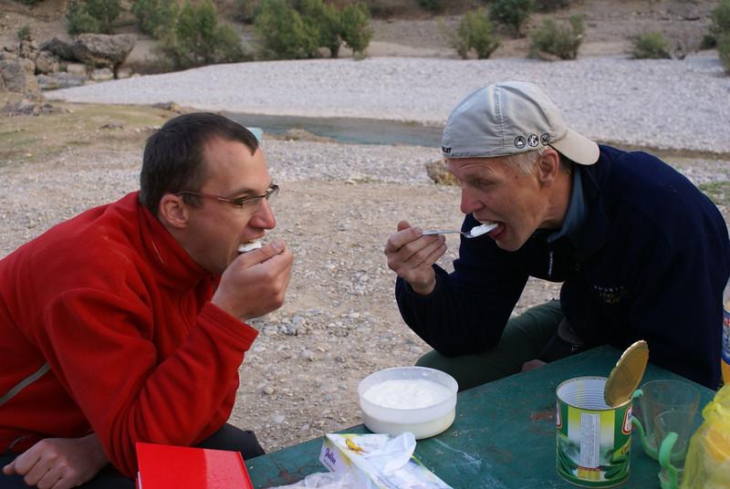 eating Mohamads yoghurt