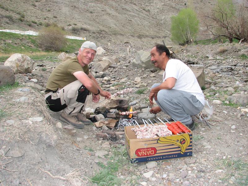 Mohammad makes a fine BBQ,  (Tash pa'in, East Elburz, N.Iran)