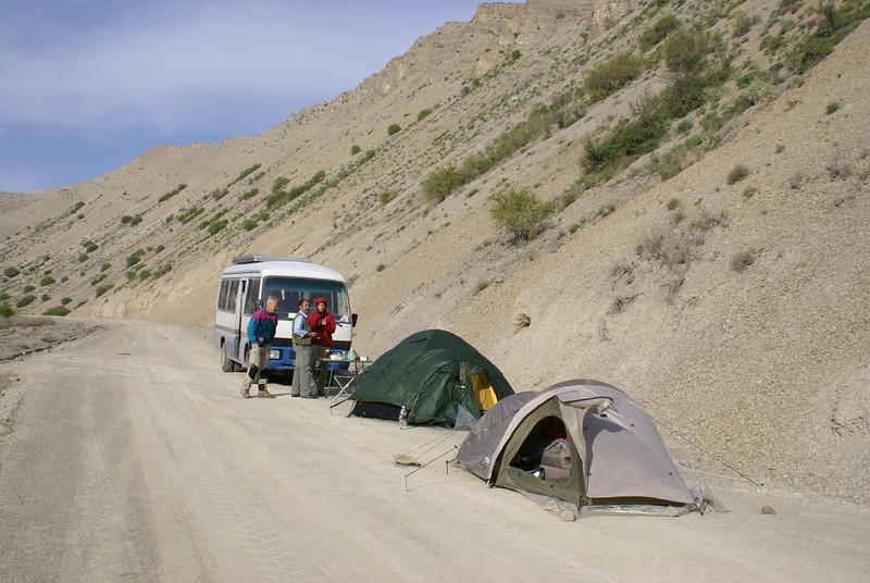 to camp on the road (Koppe Dag mountains NE Iran)