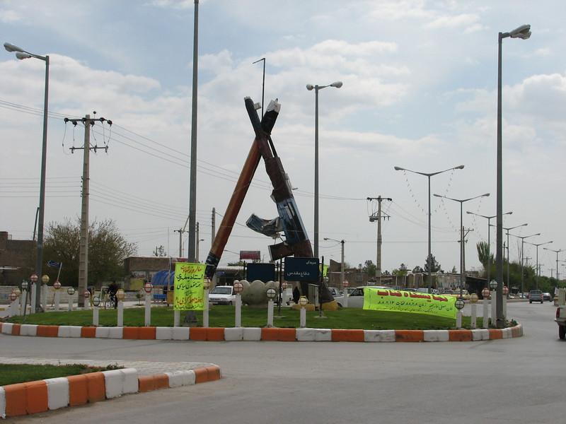 traffic circle with a masterpiece ?? in the city Lujli (Lujli, Koppe Dag mountains NE Iran)
