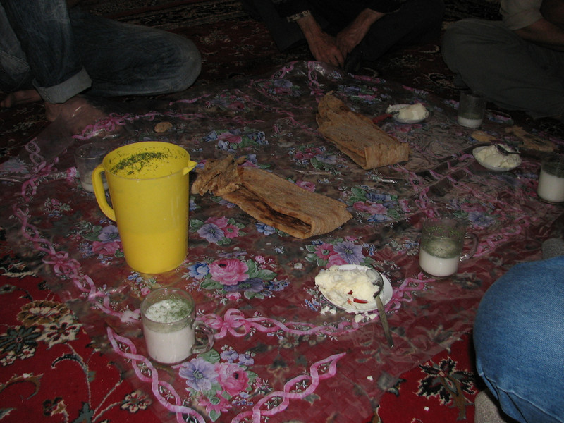 the lunch excist of bread, butter and yogurt with herbs (Karlaten shur, Kuh e Aladag, NE Iran)