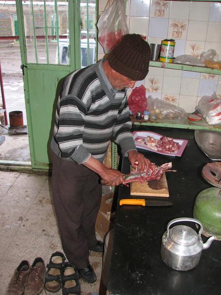 butcher (Iran, Ardabil, Kuh-e-Sabalan mountains S of Lahrud