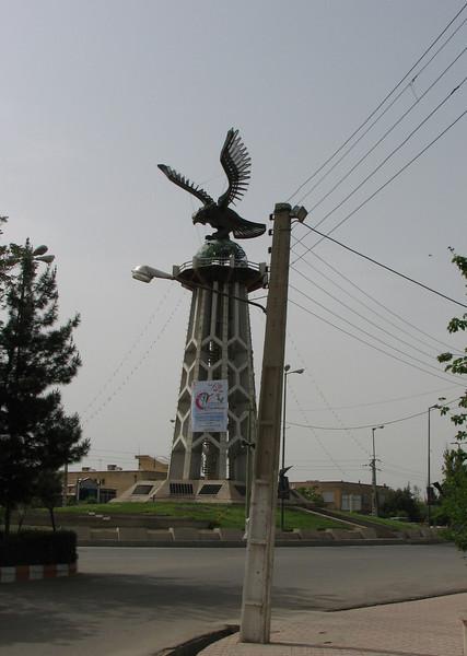 trafic-circle in centre of Shanin Dezh (Iran, Azarbayjan-e-Gharbi, Shahin Dezh)