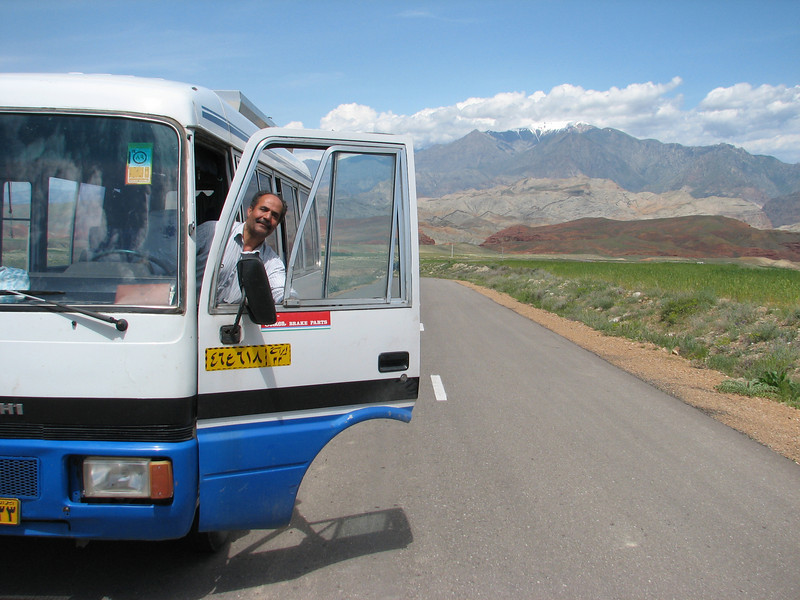 Mohammad in his jeepbus (Iran, Azarbayjan-e-Gharqi, mountains 15 km S of Siyah Rud, 1400m (18)