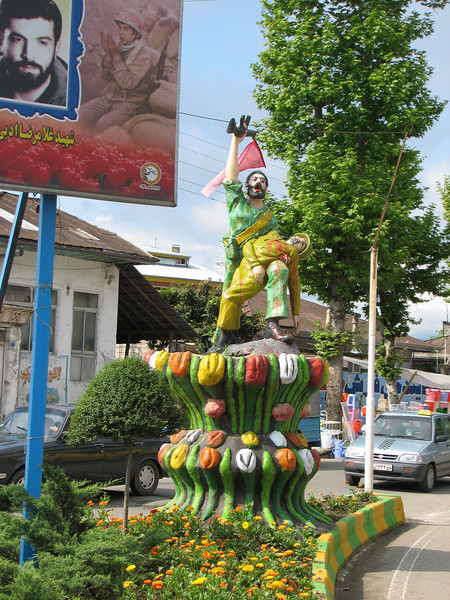 tulips decorations in the city of Fuman (Iran, Gilan, Tales mountains)