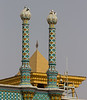Towers of the mosque with on the top homing pigeons