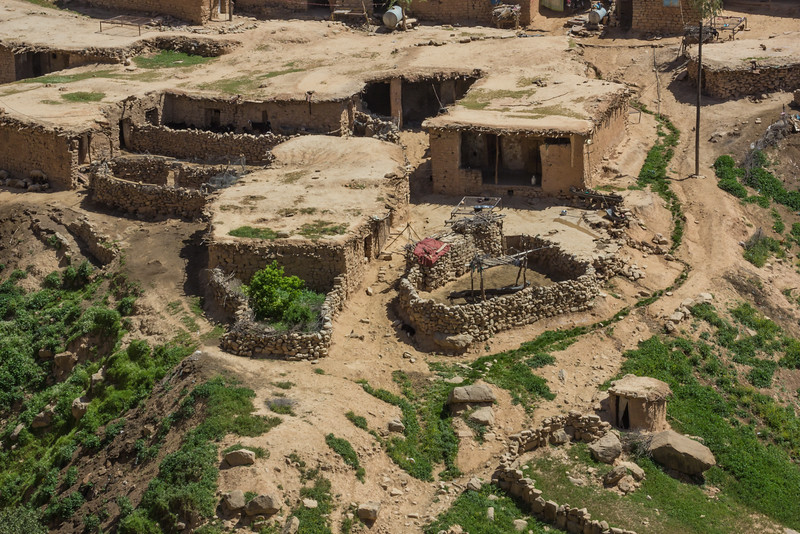 Traditional houses with mud roofs