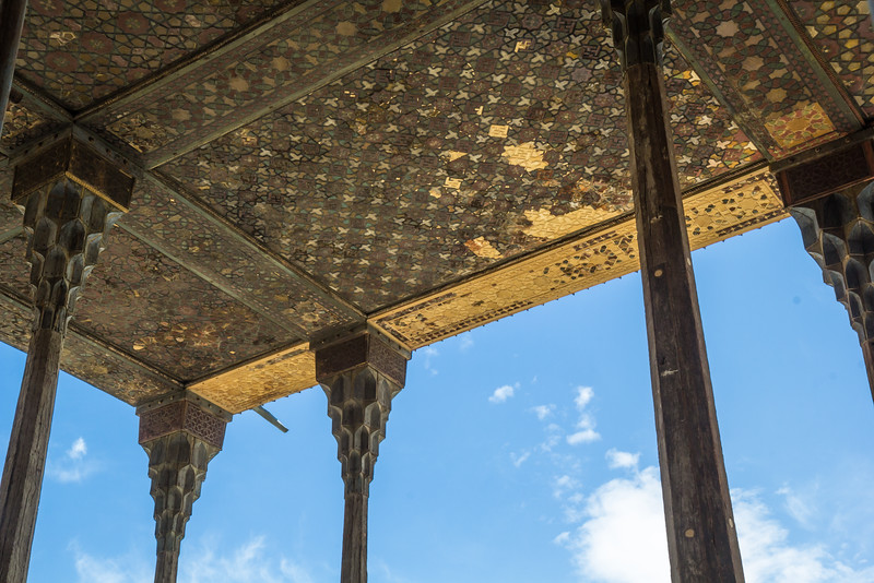 Ceiling of the roof. The Ali Qapu Palace