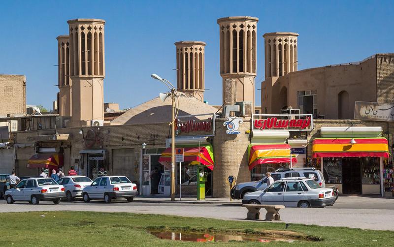Wind towers near Amir Chakhmaq Square