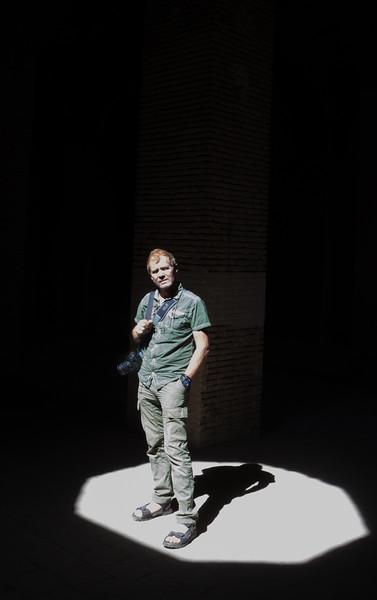 Hans in a spotlight