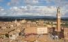 Aerial view of Piazza del Campo with Palazzo Pubblico