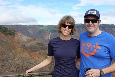 Tabitha and Rich pose by Waimea Canyon.