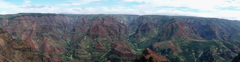 Panorama at Waimea Canyon.  See waterfalls in the left corner.