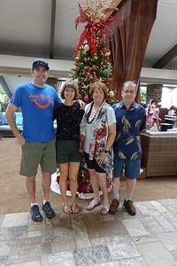 Christmas tree in the lobby of the Hilton Garden Inn.