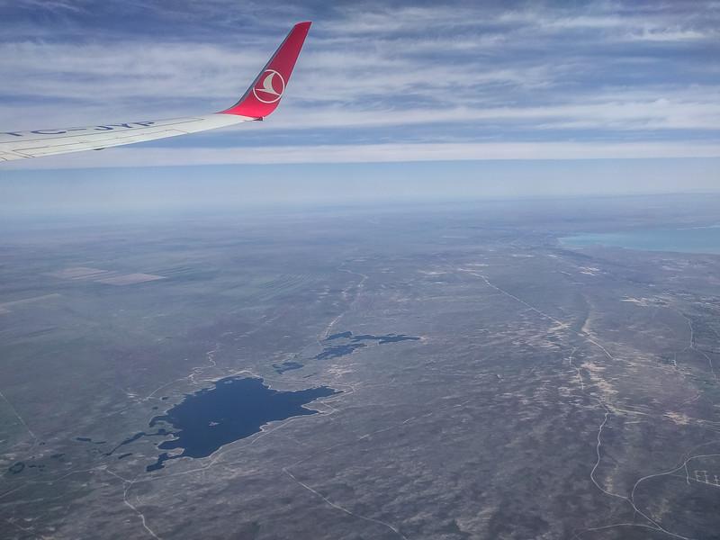 Lake Kapshaghai ( right corner) N of Almaty, Kazakhstan