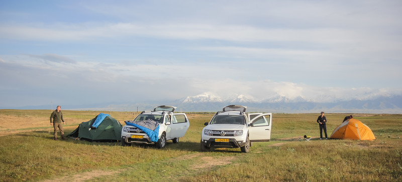 Campsite with view at Kirghiz Alatau from Moyumqum Sands
