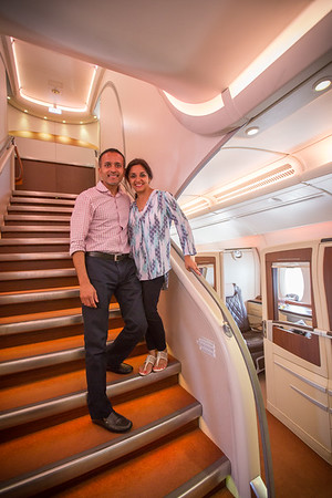Stairway to business class upstairs on the Singapore Airlines A380