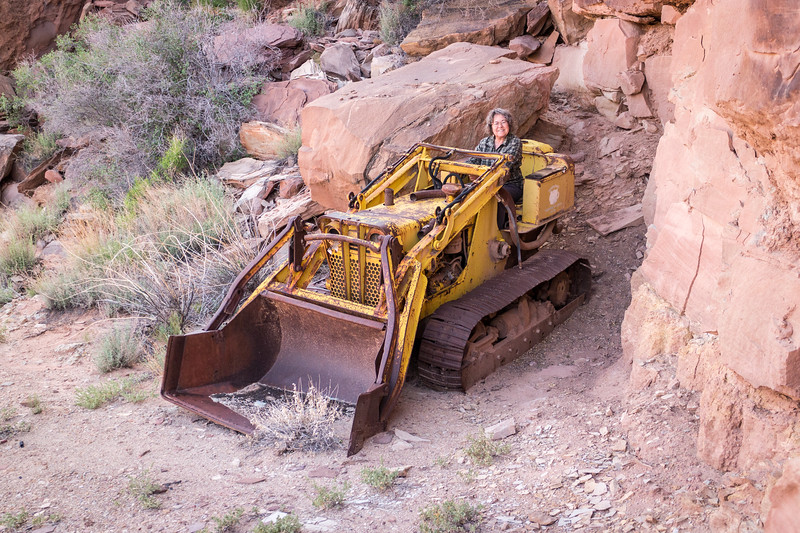 "Sharon driving some of the abondoned ""yellow iron"" left over from the uranium mines"
